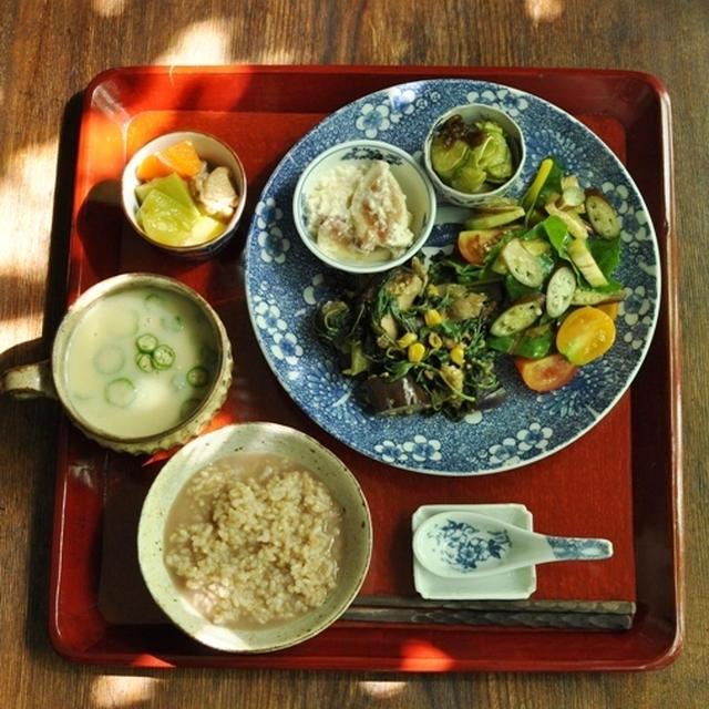 三年番茶の玄米粥、じゃが芋の豆乳味噌スープ、茄子・甘長唐辛子・モロヘイヤの豚肉味噌炒め、カボッキーと塩麹鶏の煮物、無花果の白和え とか