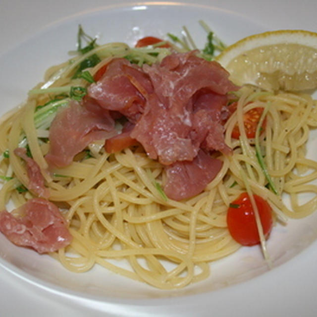水菜と生ハムのスパゲティ