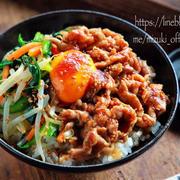 ♡豚こまとレンチンナムルdeビビンバ丼♡【#簡単レシピ#時短#節約#レンジ#焼肉のたれ】