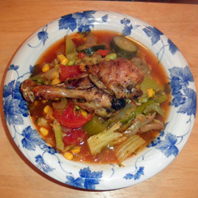 お掃除ですっきり ~ 鶏のドラムスティックの香味焼きとトマトスープ