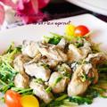 牡蠣と豆苗のガーリック醤油炒め