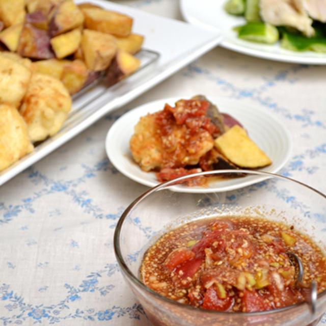 揚げ物用つぶしトマトごまだれ。残りはしょうが南蛮漬けに!の晩ご飯。