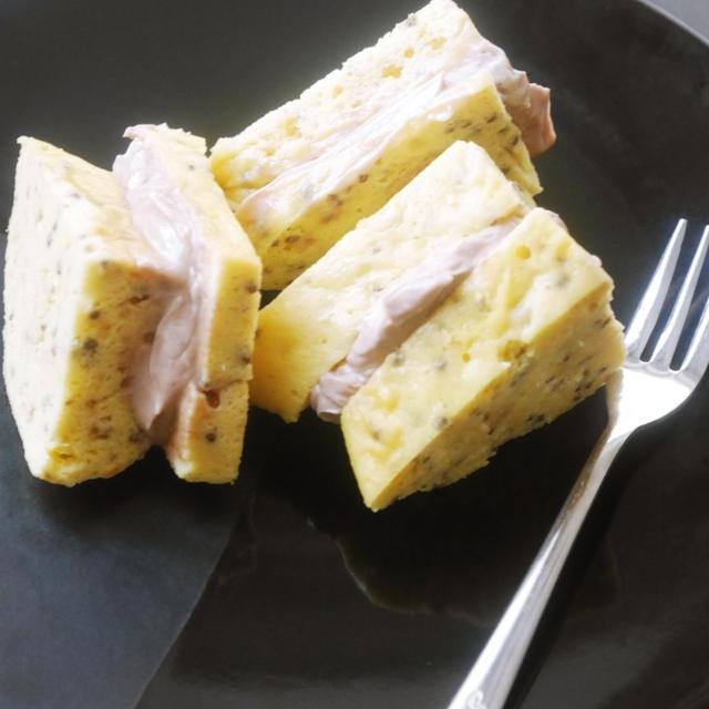 大豆粉蒸しパンのココアホイップバターサンド