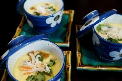 春のおもてなし朝ご飯メニュー副菜【④蟹とロール豚煮入りの茶碗蒸し】冷凍庫一掃です♪