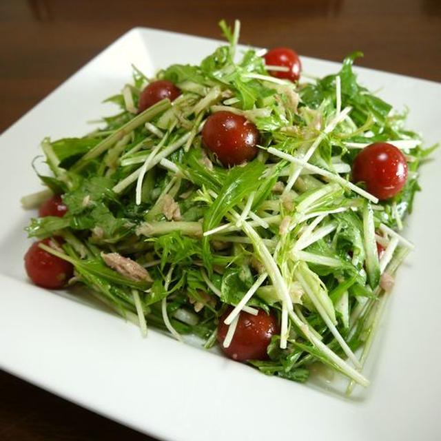 【簡単レシピ】水菜と胡瓜のツナサラダ♪