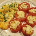 オムレツとベークドトマト リコッタチーズのせ