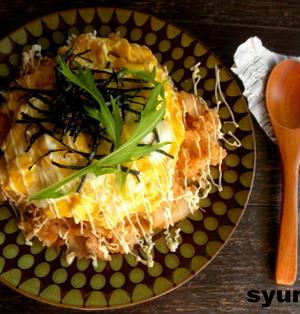 【簡単!!カフェごはん】豚キムチマヨオムライス と ウーパールーパー。