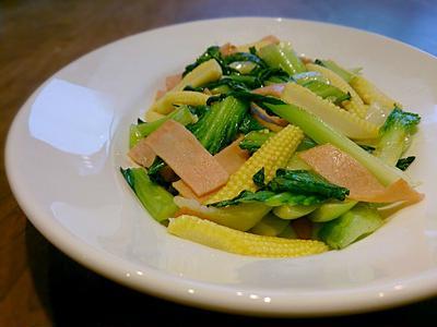 チンゲン菜とヤングコーンの炒め