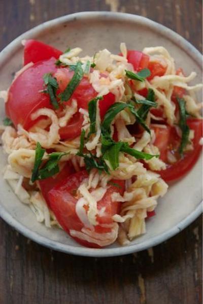 トマトと切り干しのにんにく塩和え