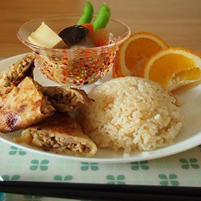 ■メニュー■アジ丼、オクラとジャガのサブジ、棒々鶏、柚子豆腐*6月20日