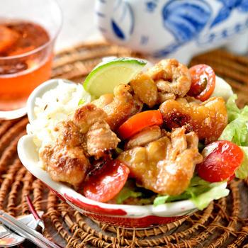 ライムで爽やか♥チキン♥エスニック丼 【#夏レシピ #簡単 #作り置き 】