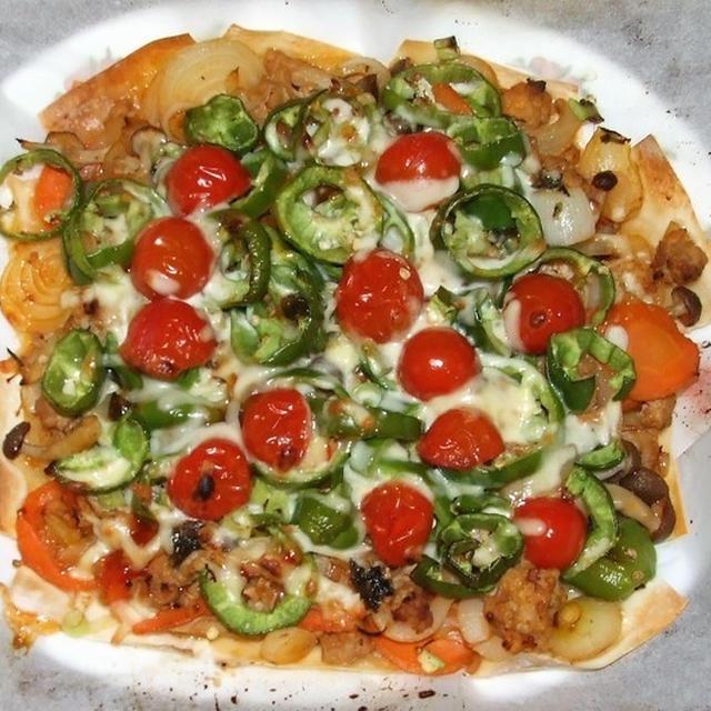 和風きのこピザ&ほうれん草の油揚巻き