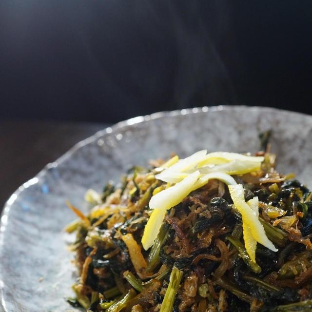自家製保存食で【大根葉とジャコの甘辛佃煮】地味ですが日本の味ですね~ご飯が美味しいね^^