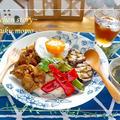 ヘビロテ*レシピ★豚肉カレーソテー&グリル野菜のカフェ丼