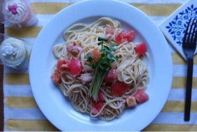 トマトとツナのシンプル冷製パスタと献立♡mizukanの純米酢♡