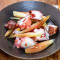ブツ切りタコとミョウガの甘酢和え&「スーパーの新商品の海苔弁当」