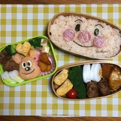 2015/03/02 幼稚園弁当☆親子リンク アンパンマン キャラ弁 (● ̍̑● ̍̑●)