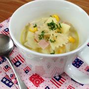 マグカップで、リボンパスタのクリームスープ by 小豆ん子さん