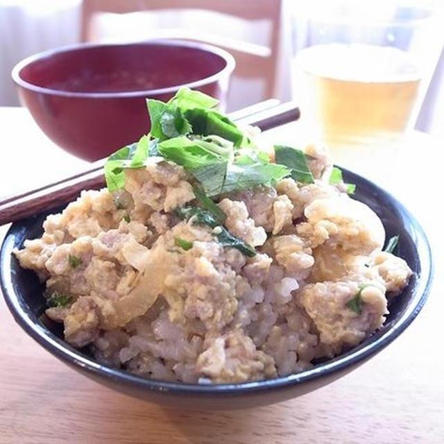 簡単、食べやすい!鶏ひき肉の親子丼|明日6月3日(日)「休日パパごはんの日」でかつおですよ!