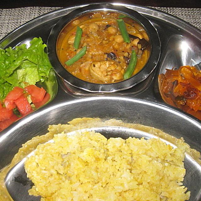 ひよこ豆とチキンのインドカレー