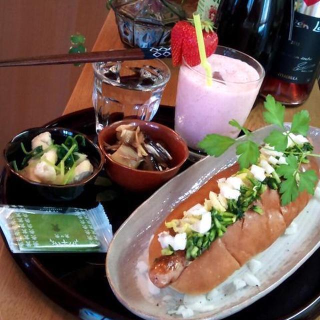 お漬物ホットドッグ ~ わさび醤油味のソーセージ&京漬物2種で♪