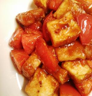 トマトと厚揚げの生姜焼き♪