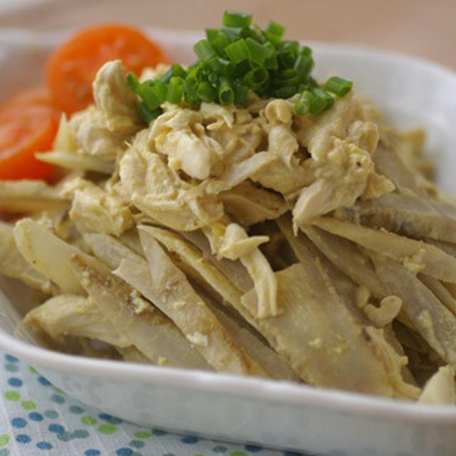 鶏ささみとごぼうの塩麹マヨマスタードサラダ