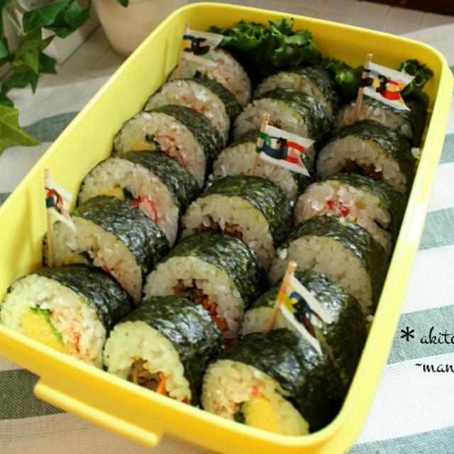 運動会、行楽、ホームパーティに♪【再現?】かに本家風蟹の太巻き寿司とプルコギの韓国風太巻き寿司