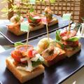 ベーコントマトバジル&海老アボガドマヨのトーストピンチョス