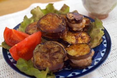 特に思い出のないなすの豚はさみ焼きと、彼の好きな野菜。