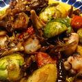 野郎飯流・タコと芽キャベツ、舞茸のペペロンチーノ
