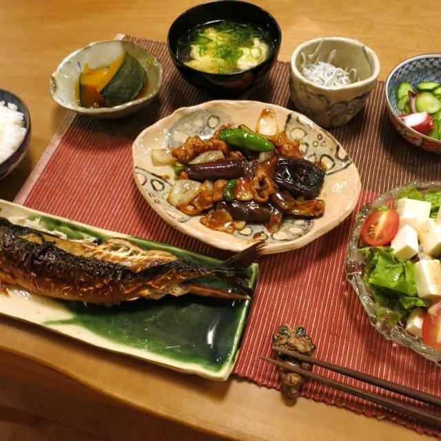 「浜焼き鯖」&豚肉と茄子の味噌炒めの晩ご飯 と 木槿の七変化♪