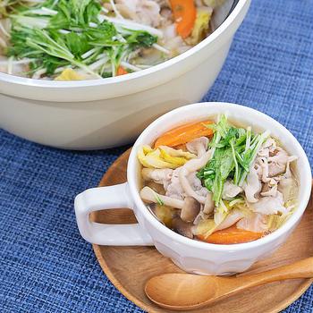 10分で完成♪豚しゃぶ肉おかずスープ( ⸝⸝•ᴗ•⸝⸝ )