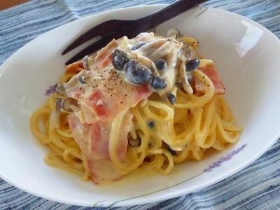 きのことベーコンの豆乳カルボナーラ☆