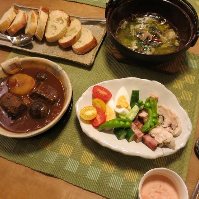 ビーフシチューや牡蠣とマッシュルームのアヒージョの晩ご飯 と 冬枯れの風景♪
