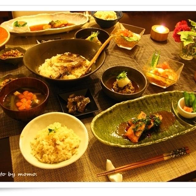 新鮮な桜鯛で、純和風の食卓~鯛飯、鮭のソテー香味ソース添え他(※簡単レシピ)