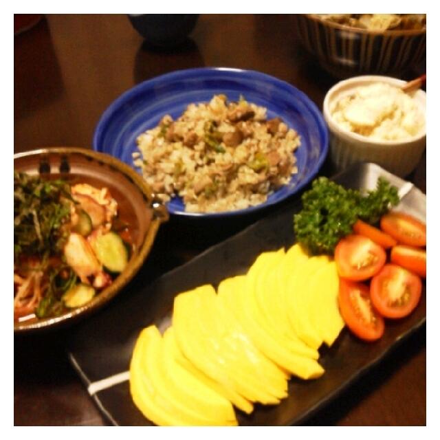 昨日の夕ご飯☆コリンキーサラダ