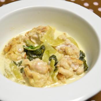 群馬県産チンゲン菜と白子のクリーム煮【ぐんまクッキングアンバサダー】煮込んでもシャキシャキのチンゲン菜ととろーり白子の組み合わせのおつまみ。
