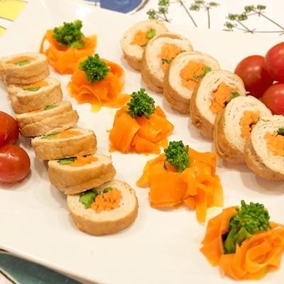 簡単華やか!にんじんと菜の花のミートロール