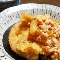 れんこん天ぷらの鶏そぼろあんかけ  れんこんの天ぷらが主役に!?
