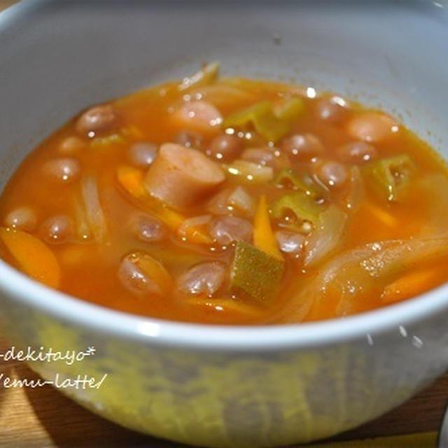 野菜とうずら豆のトマトスープ。