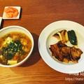 豚バラ焼肉と、ピリ辛肉団子スープの簡単晩ごはん