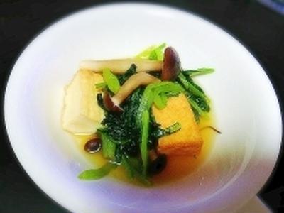 小松菜とお揚げのダブルスープ煮