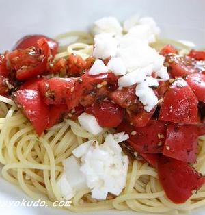 夏ブランチ、トマトの和風冷製パスタ
