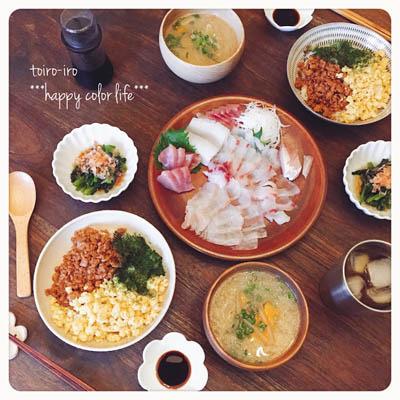 三色ご飯の夕食