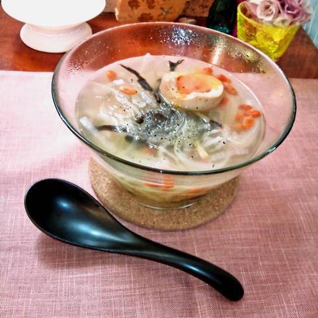 大根の中華春雨スープ 半熟煮たまご入り ~ 体にやさしい栄養スープღ
