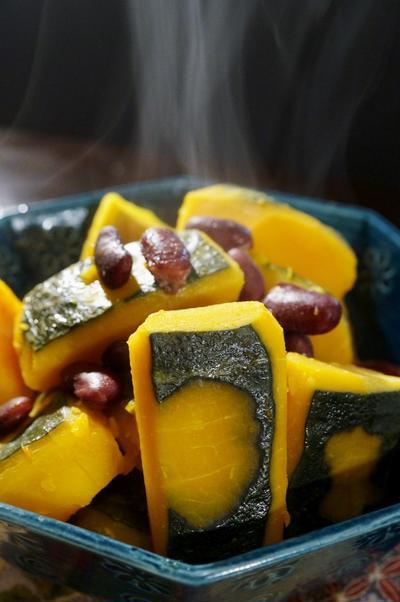 我が家の嬉しい常備菜【南瓜のいとこ煮】小豆の代わりにレッドビーンズがお手軽です♪