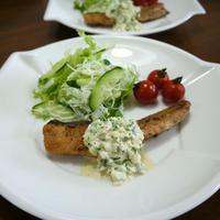 「よろこばレシピ」にレシピ投稿しました★アンチョビマヨde鮭のタルタルソース♪
