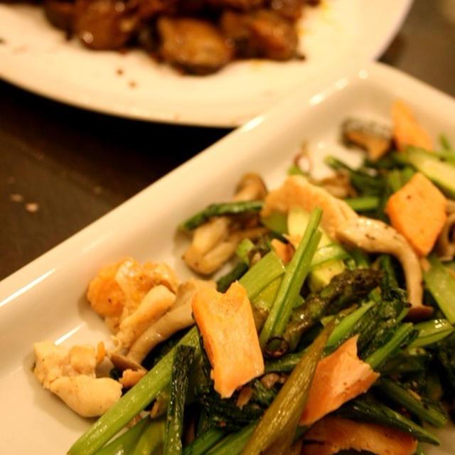 青菜と鮭のアーリオ・オーリオ