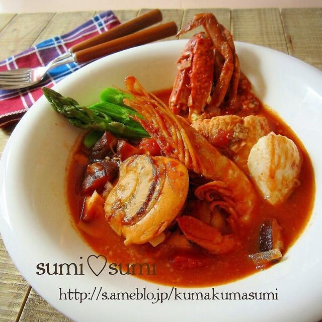 魚介の旨みたっぷりの♥トマト煮込みスープ